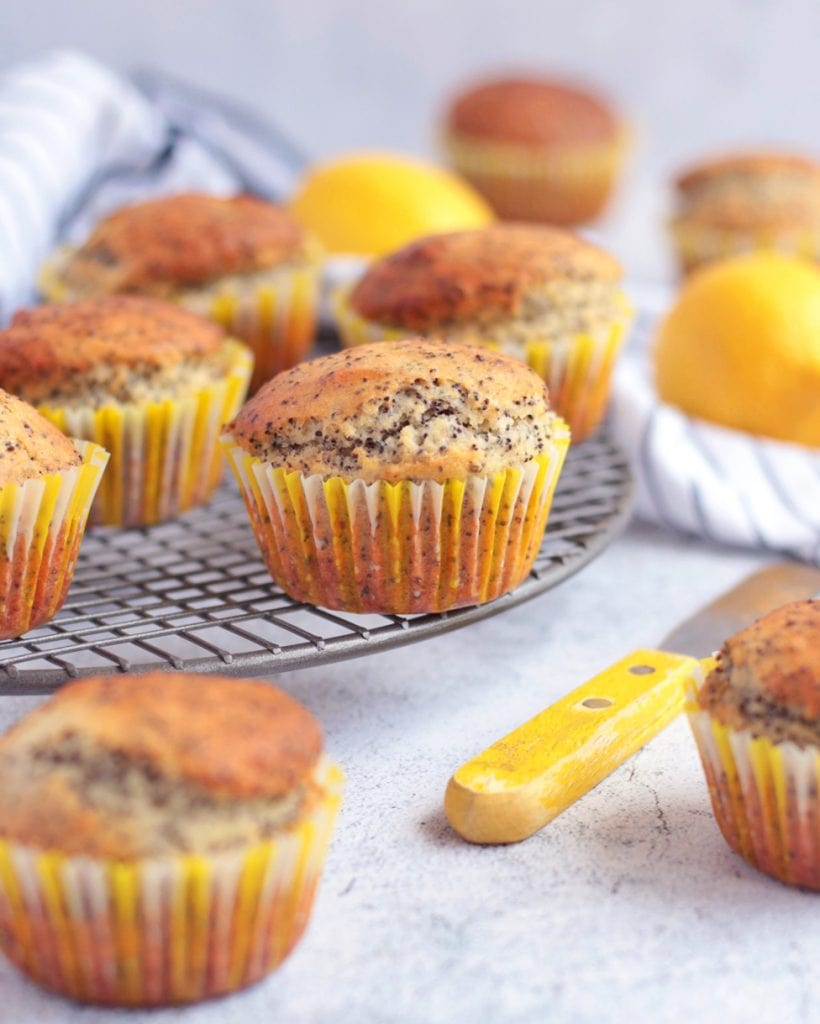 Muffins on a Metal Cooling Tray