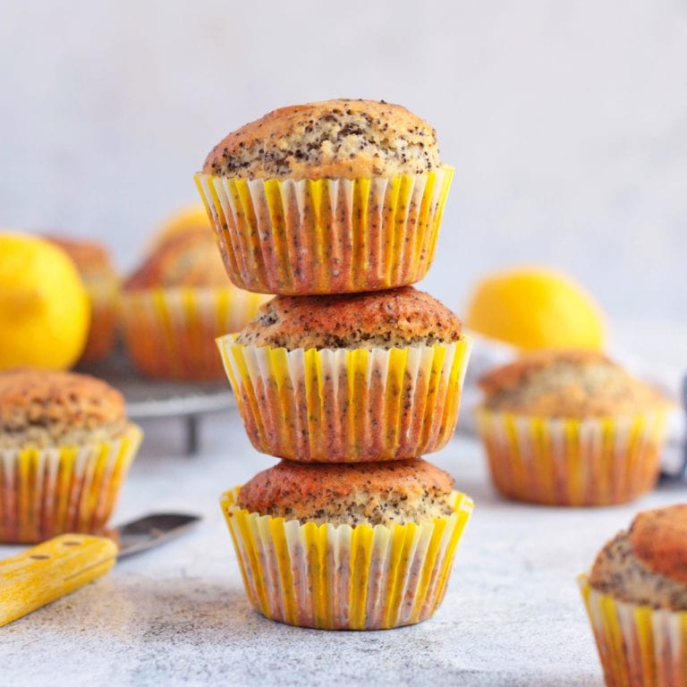 Stack of 3 Lemon and Poppy Seed Muffins