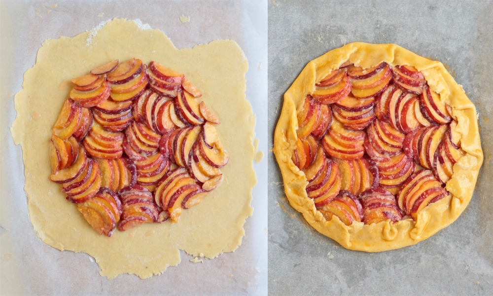 Process shots: folding the pastry over the fruits