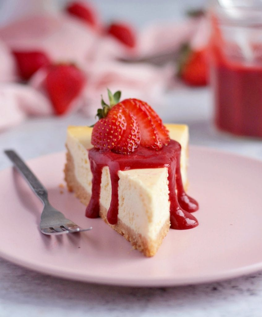 Cheesecake topped with the Strawberry Sauce