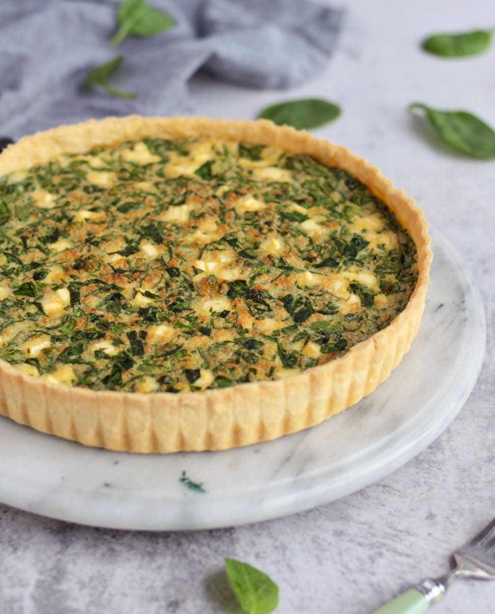 Spinach Quiche viewed from the side.