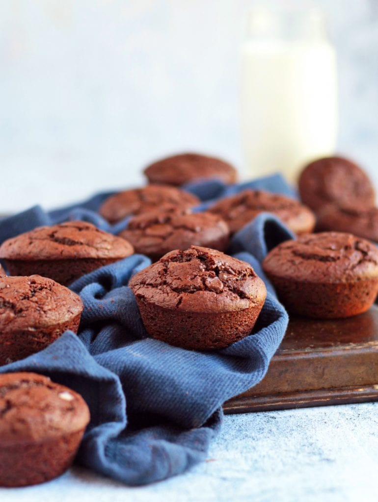 Chocolate Muffins on a tray with a glass of milk