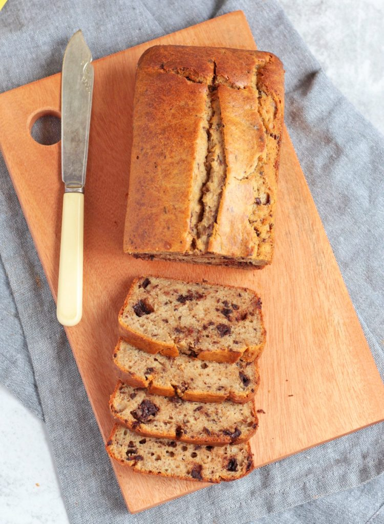 Sliced Banana Bread from above