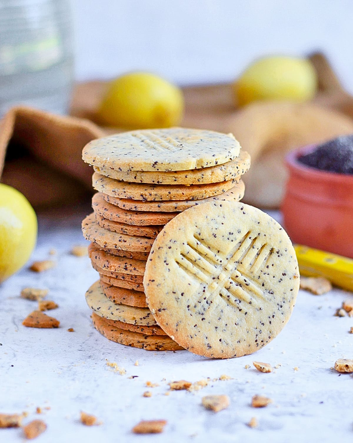 Poppy Seed Cookie Stack with fresh lemons