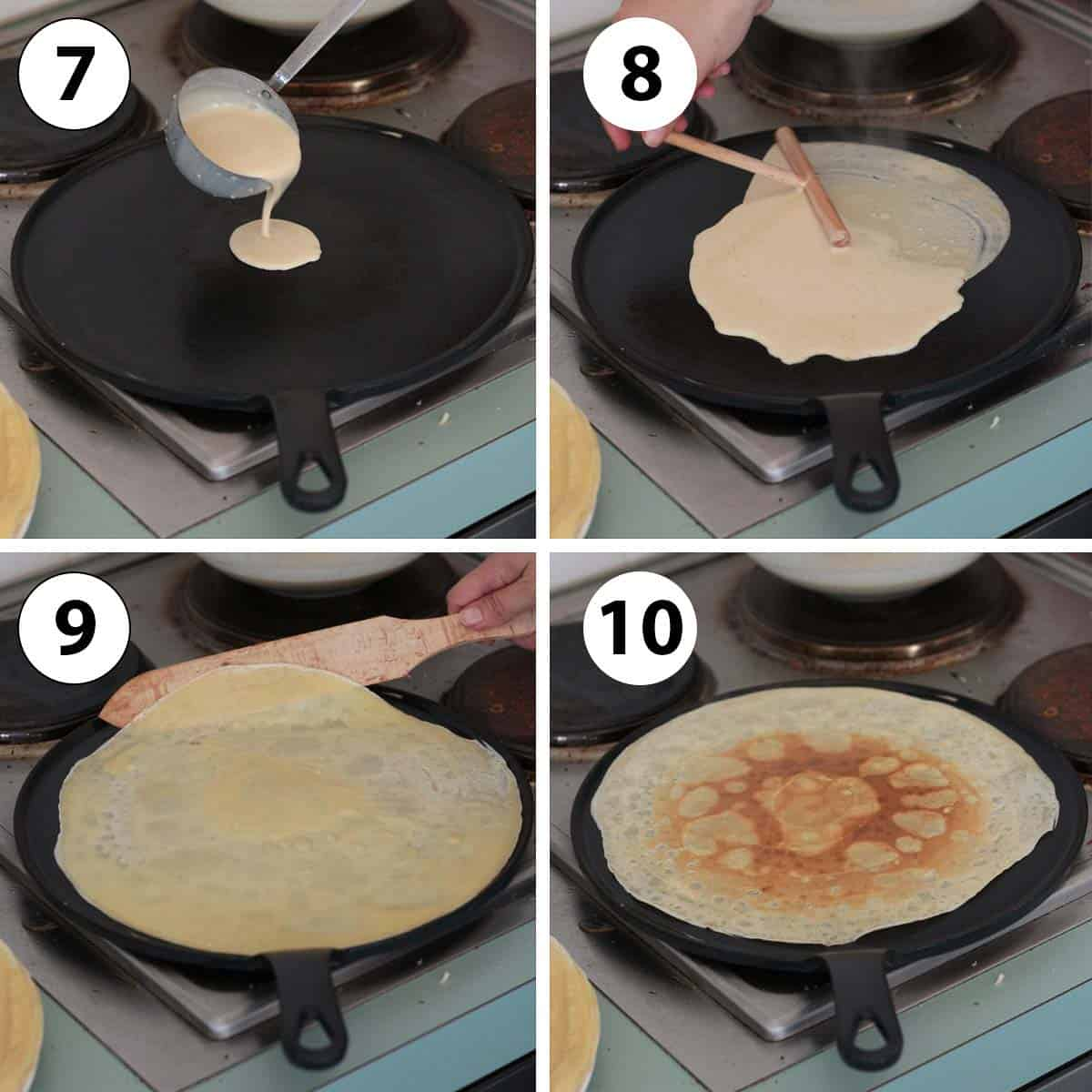 Process Shots: cooking the crepes on a crepe pan.