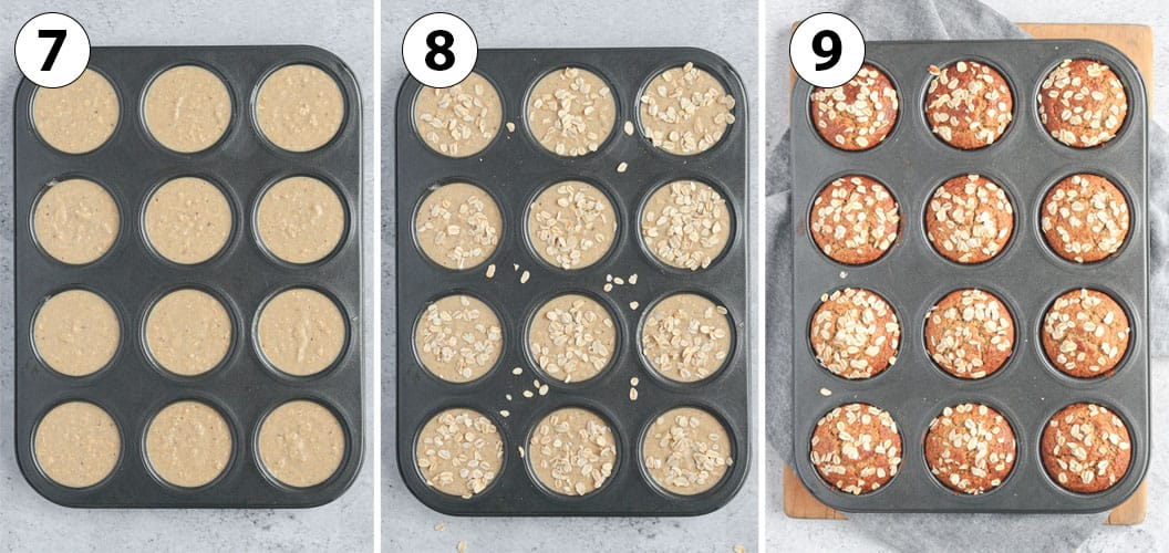 Process Shot Collage: baking the muffins in a muffin pan.