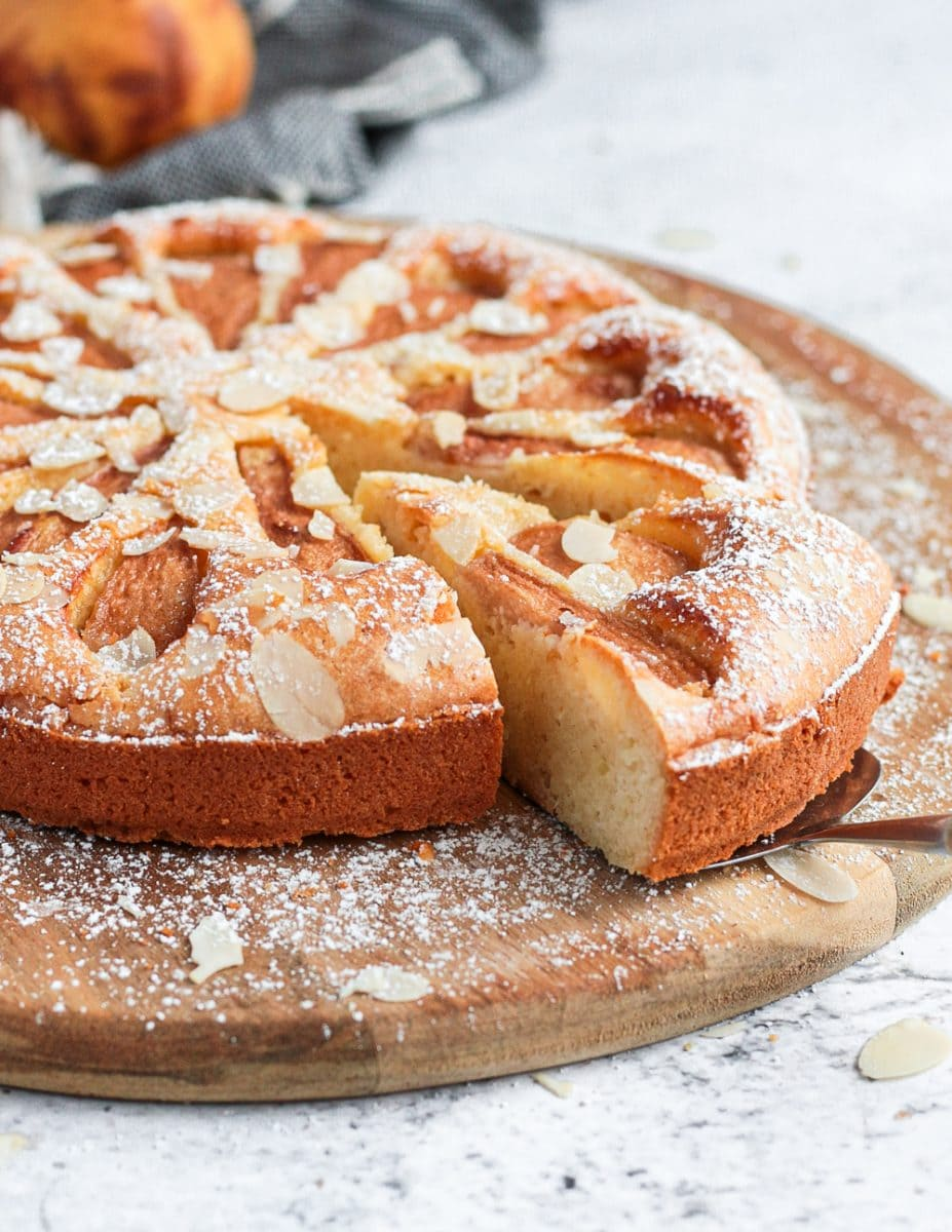 A slice of the pear cake cut off