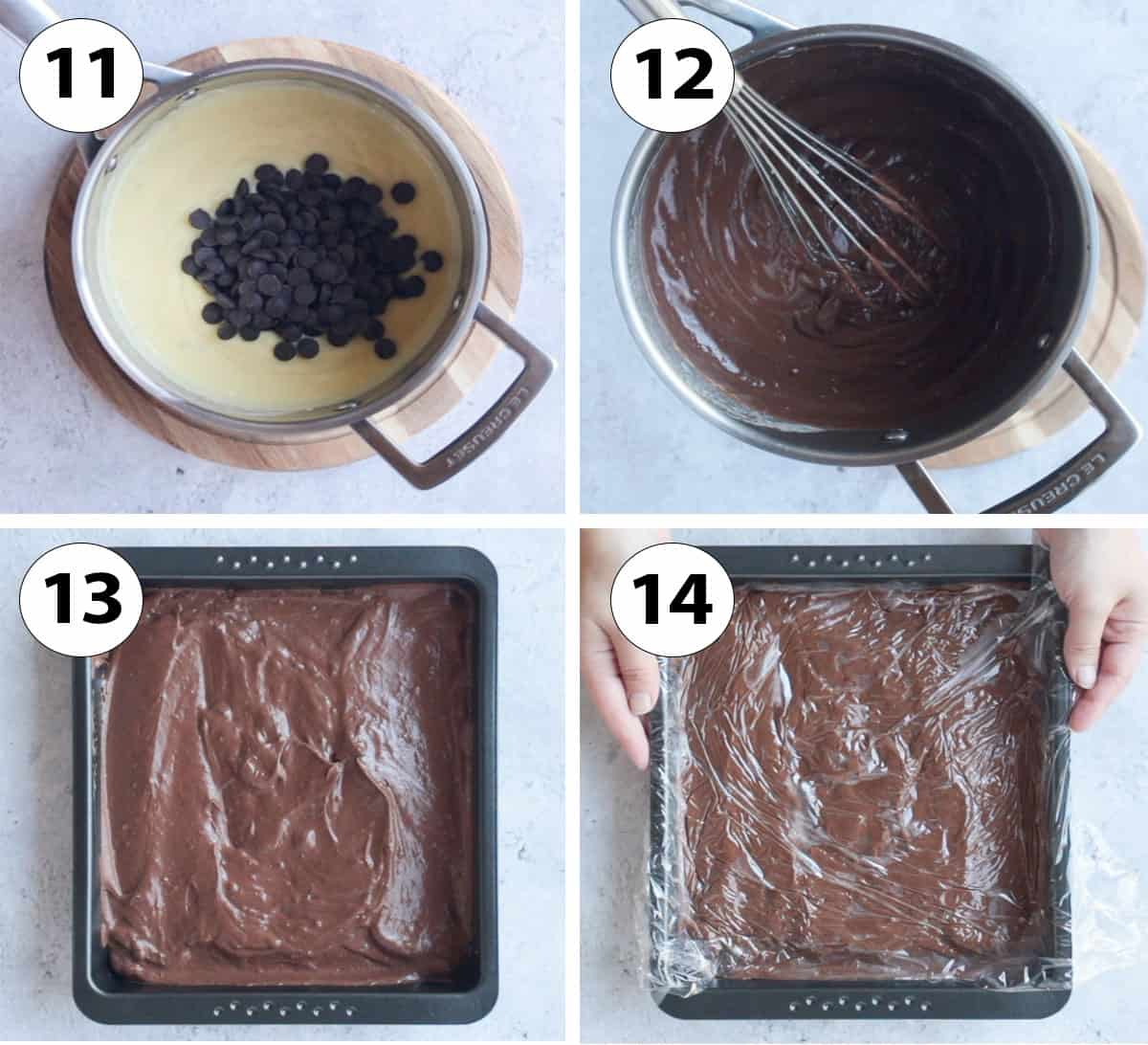 Process Shots: adding the chocolate and chilling.