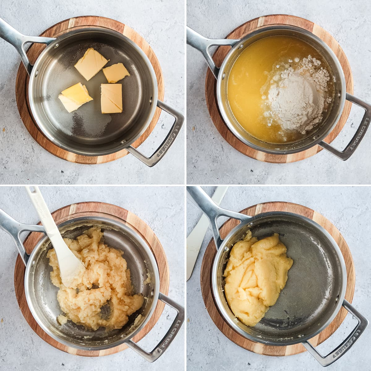 Making choux pastry process collage: making the choux pastry in the pan.