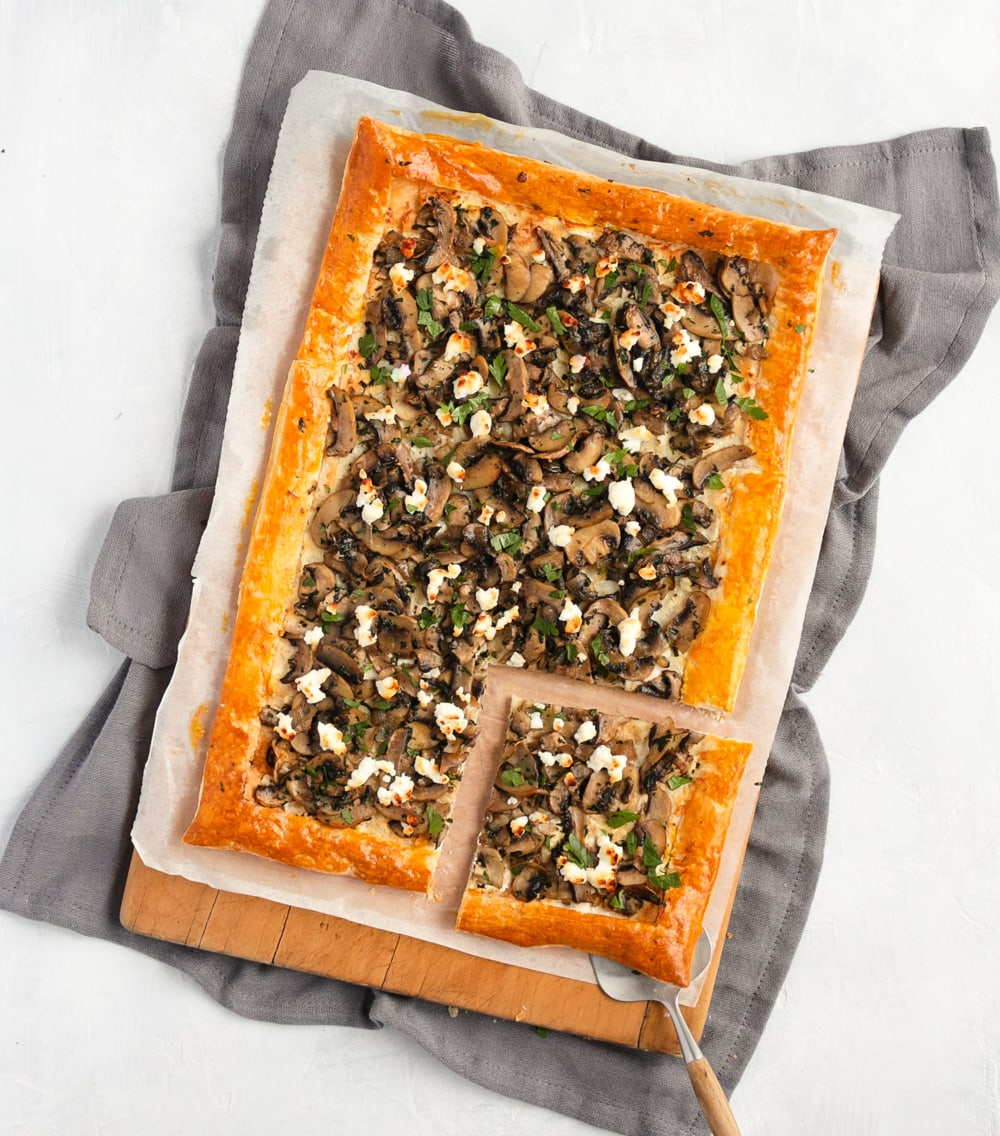 Baked Tart from above with a slice cut off