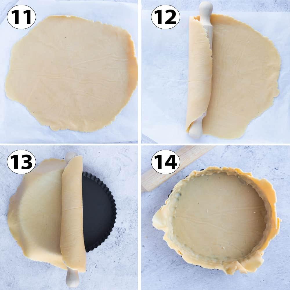 Process Shot Collage: lining the tart pan.