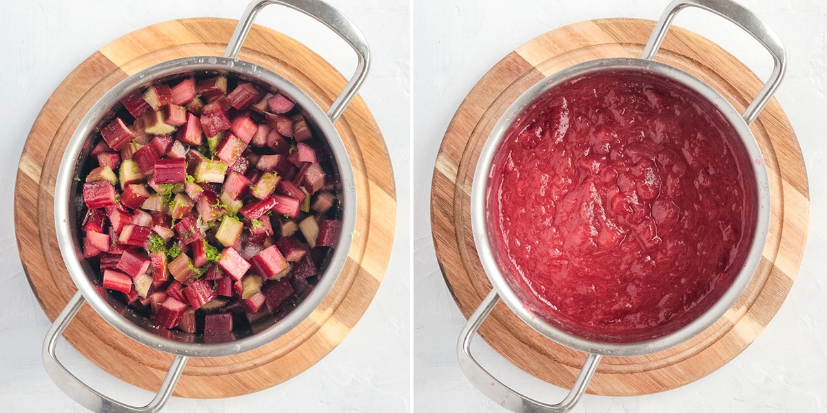 Process shot: before and after cooking the fruit in a pot