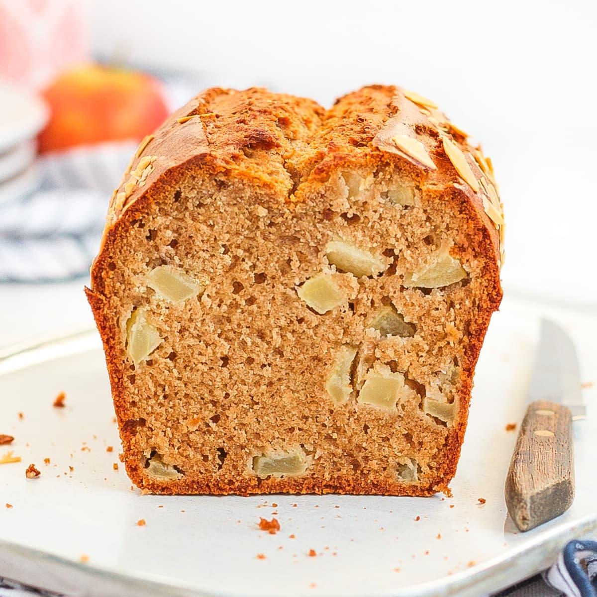 Crumb Shot of the loaf sliced in half.
