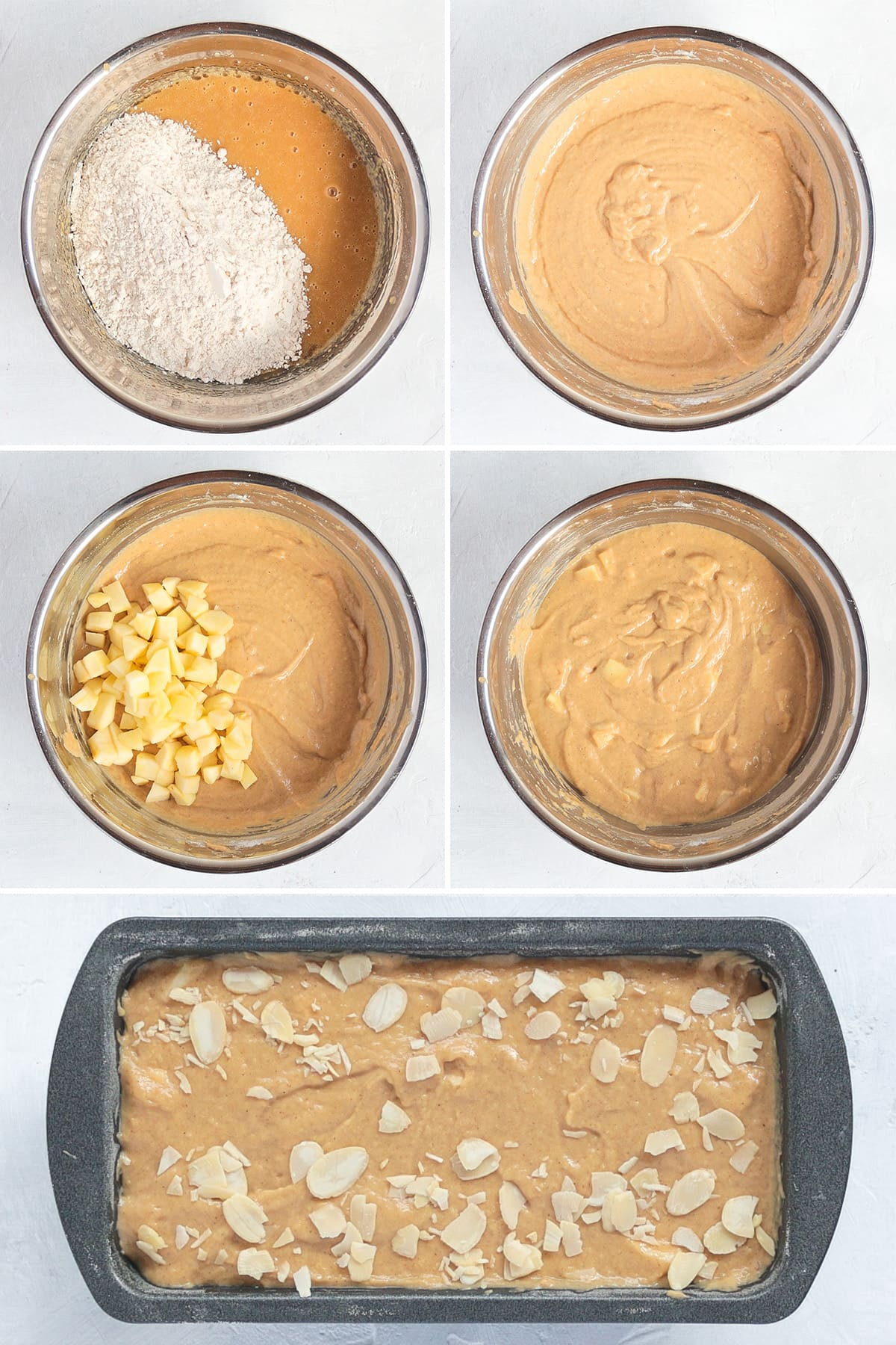 Process Shots Collage: mixing in the dry ingredients and chunks of apples.