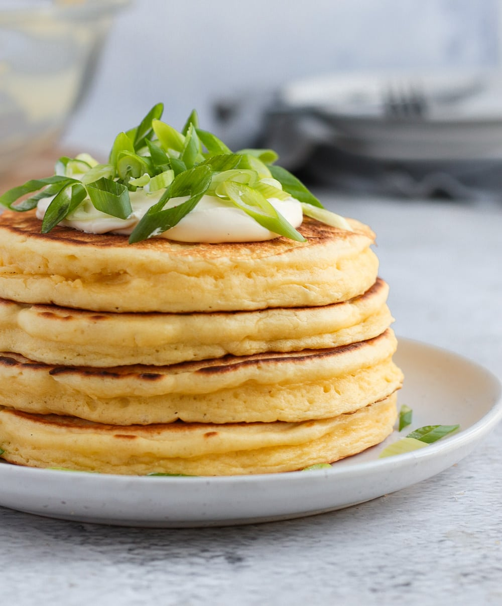 Side view on the stack of cheese pancakes.