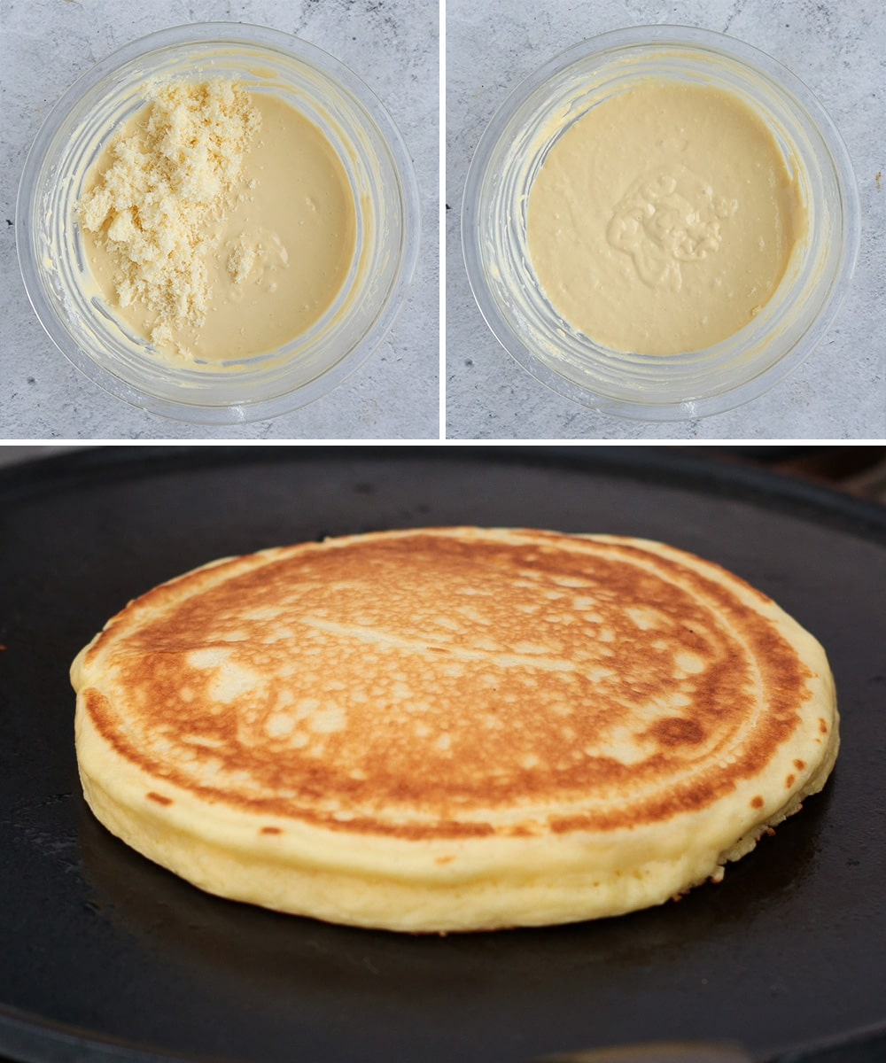 Process Shots: adding the cheese and cooking the pancakes in a pan
