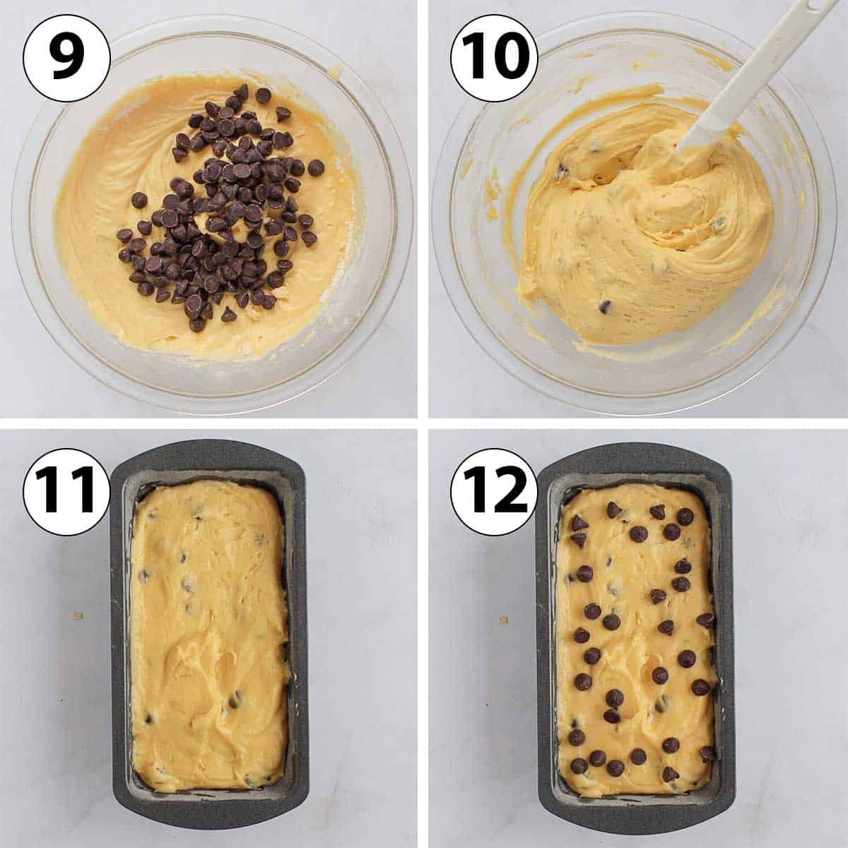 Process Shot Collage:adding the chocolate chips and pouring into the loaf pan.