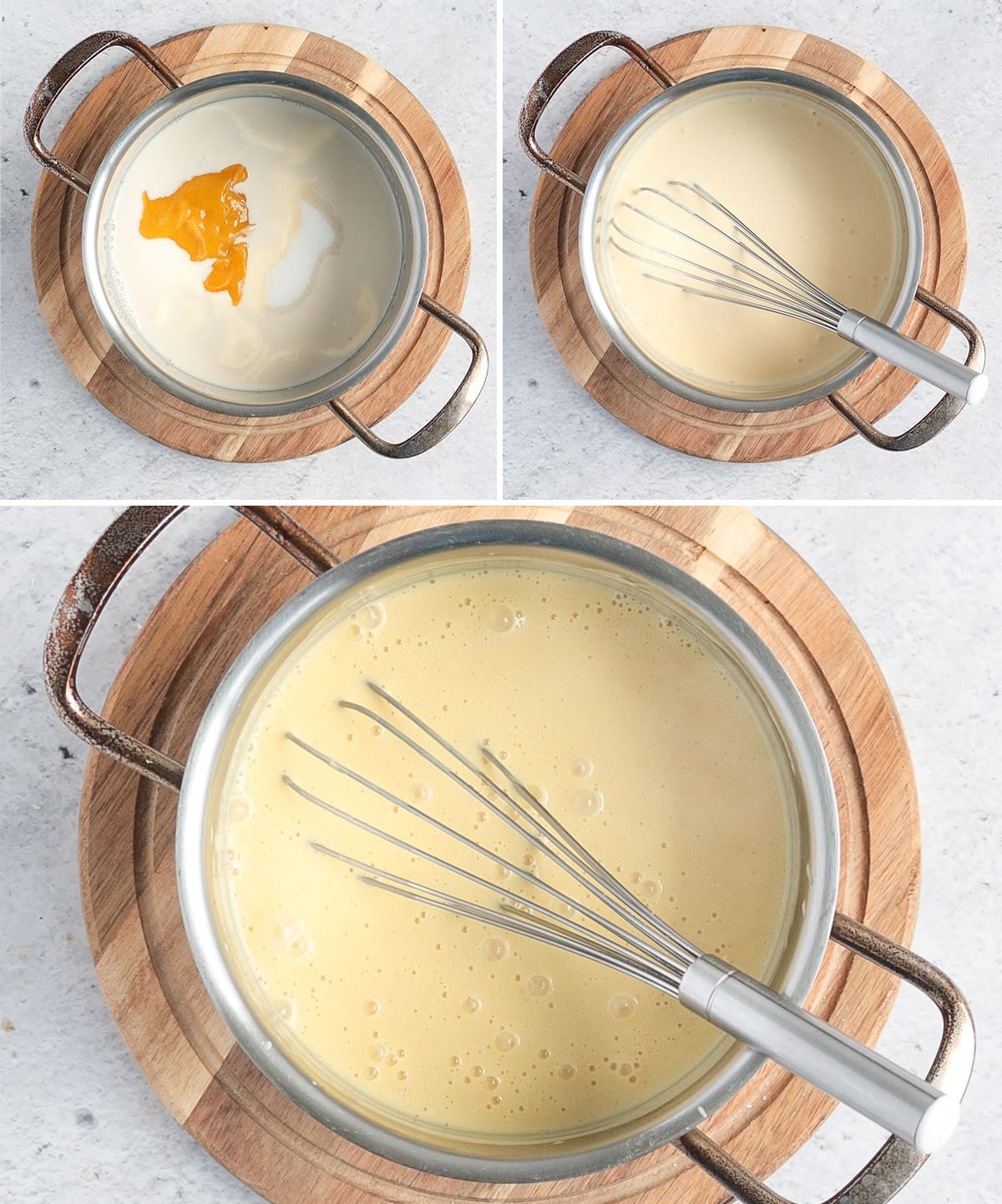 Process shot: cooking the milk, cream and mango