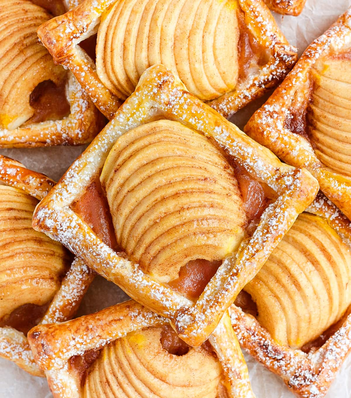 Stack of pastries from above.