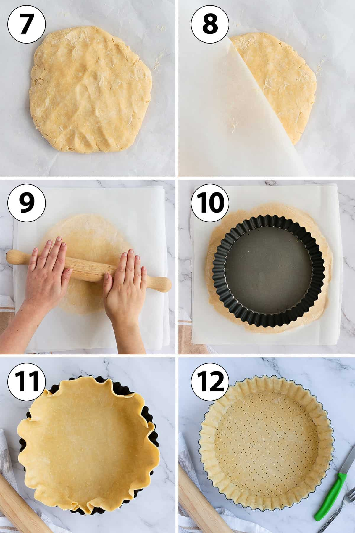 Process Shot: rolling the pastry and lining the tart pan