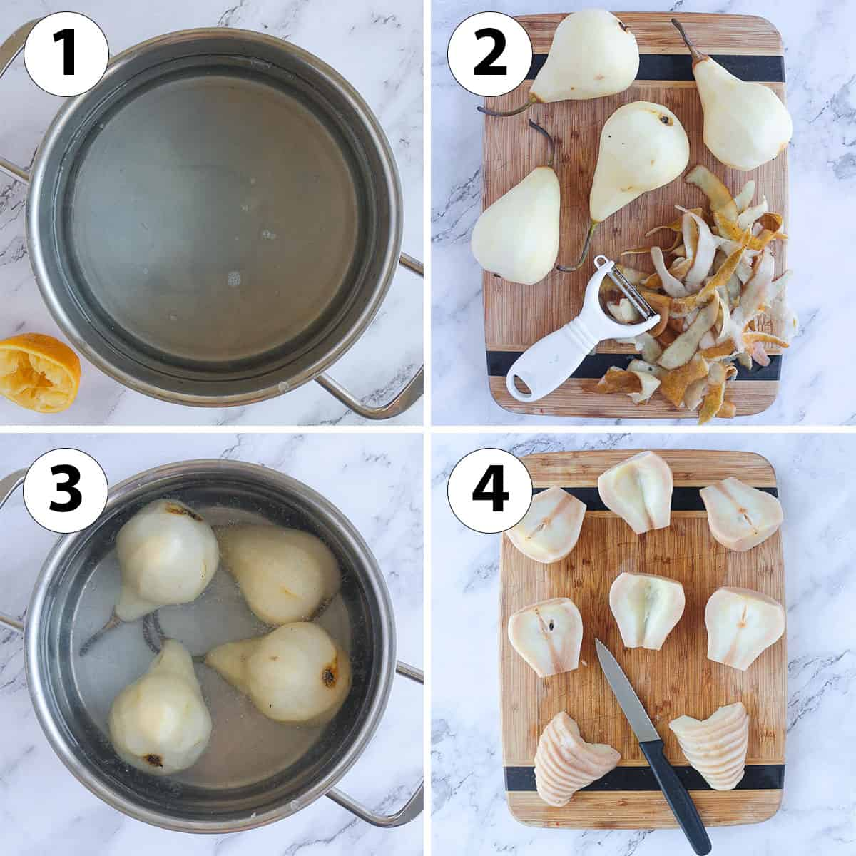 Process Collage: poaching the pears.