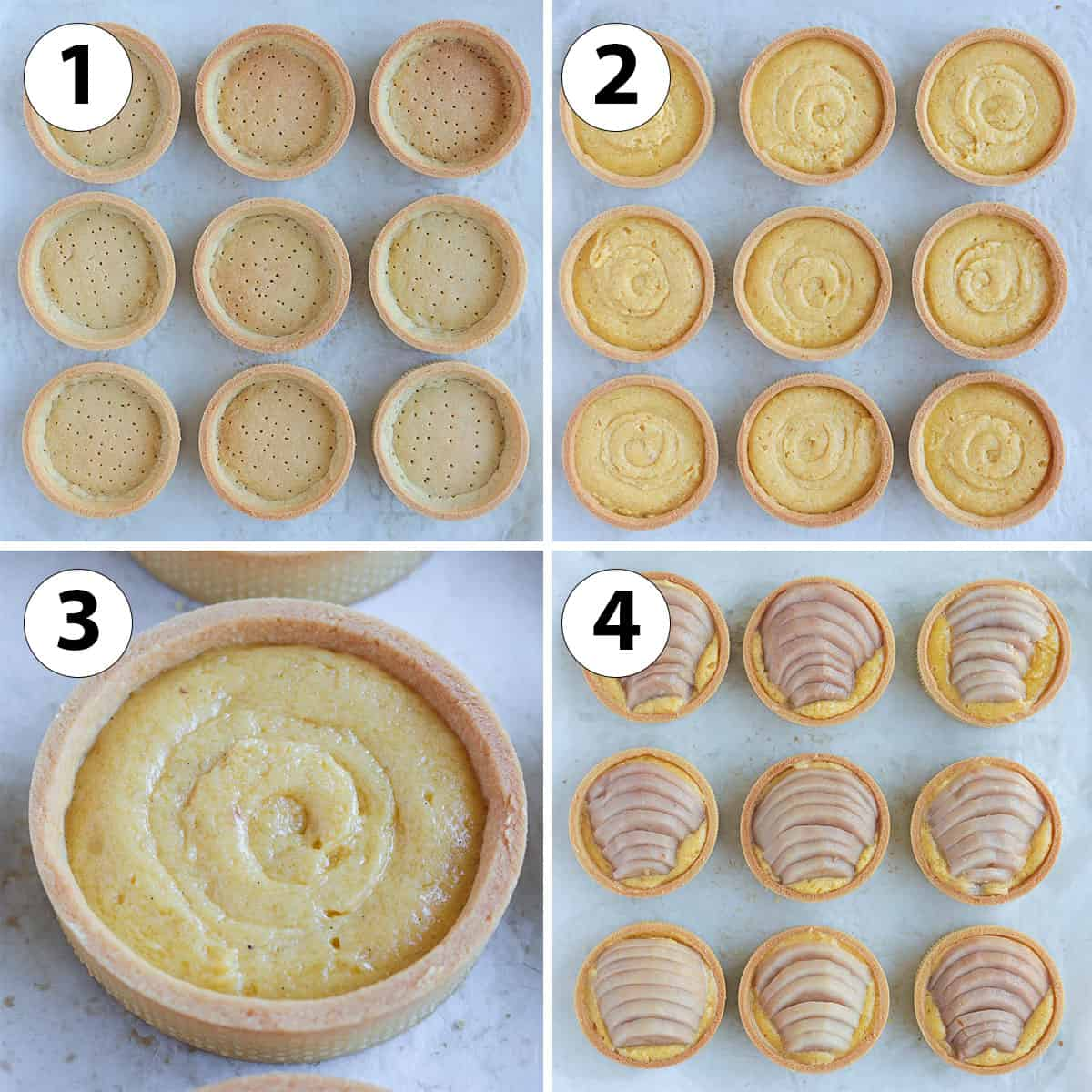 Process collage: assembling the tartlets for baking.