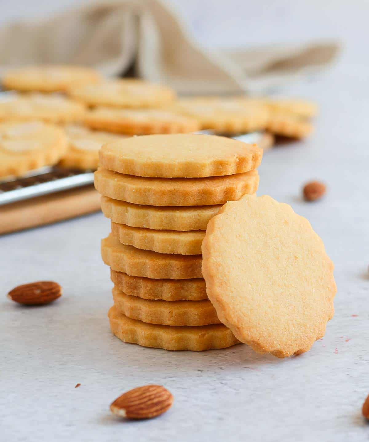 Stack of cookies over a light grey surface.