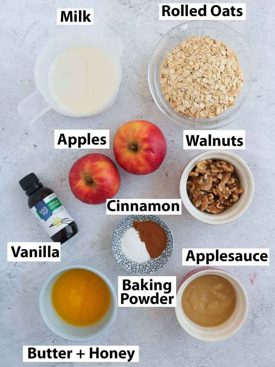 Ingredients for the baked oatmeal on a grey surface.