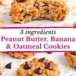 3 ingredients Peanut Butter Banana Oatmeal Cookies