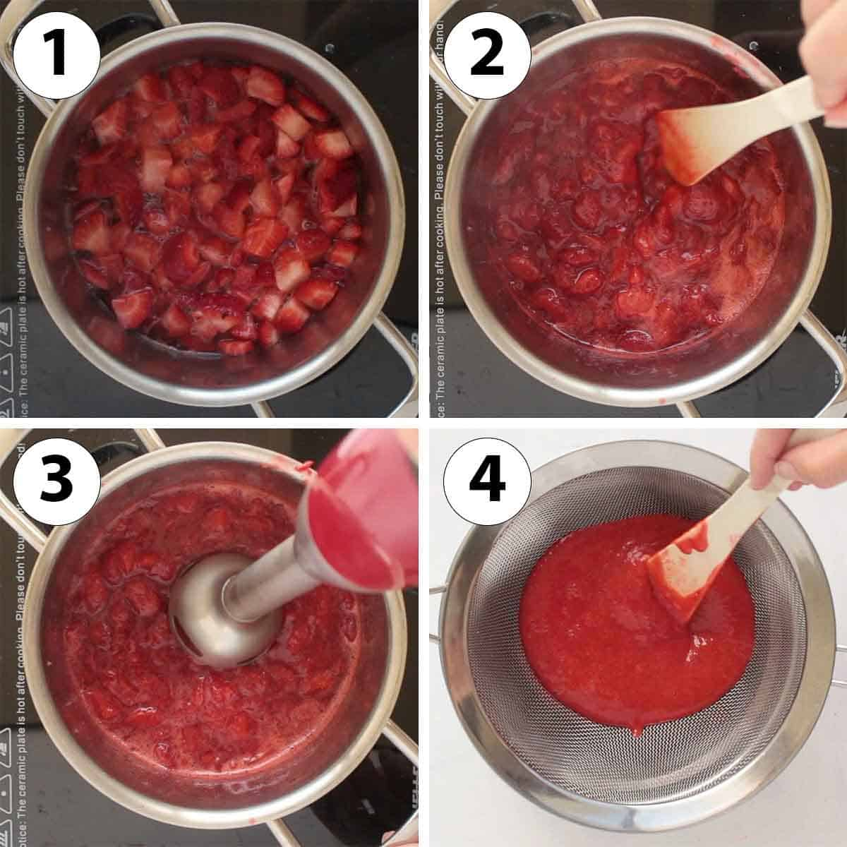 Process Shot Collage: making the strawberry coulis.