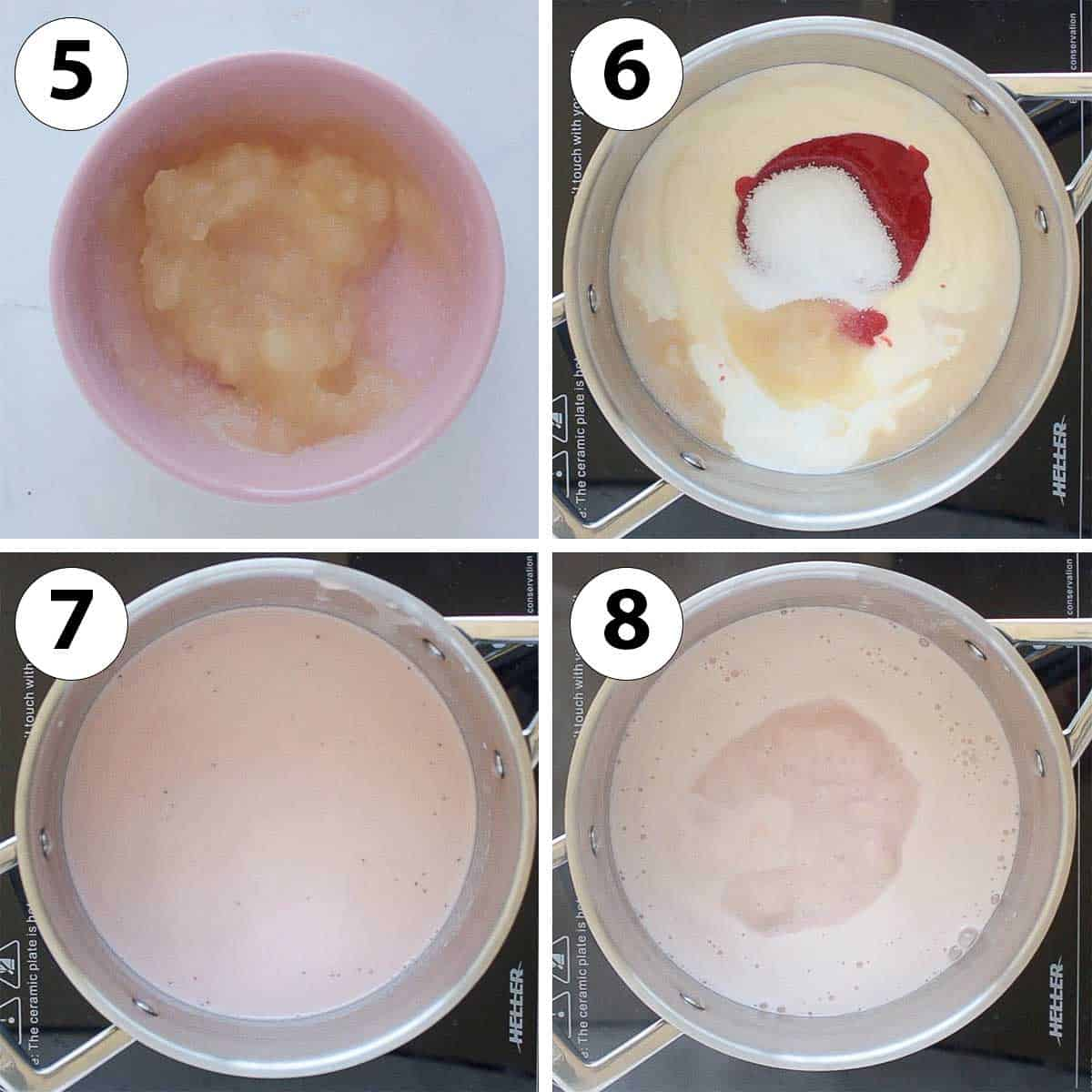 Process Shot Collage: making the panna cotta cream in a saucepan.