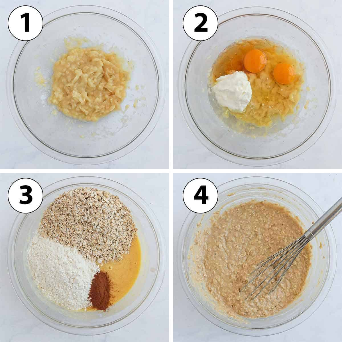 Process Shot Collage: Mixing the wet and dry ingredients.