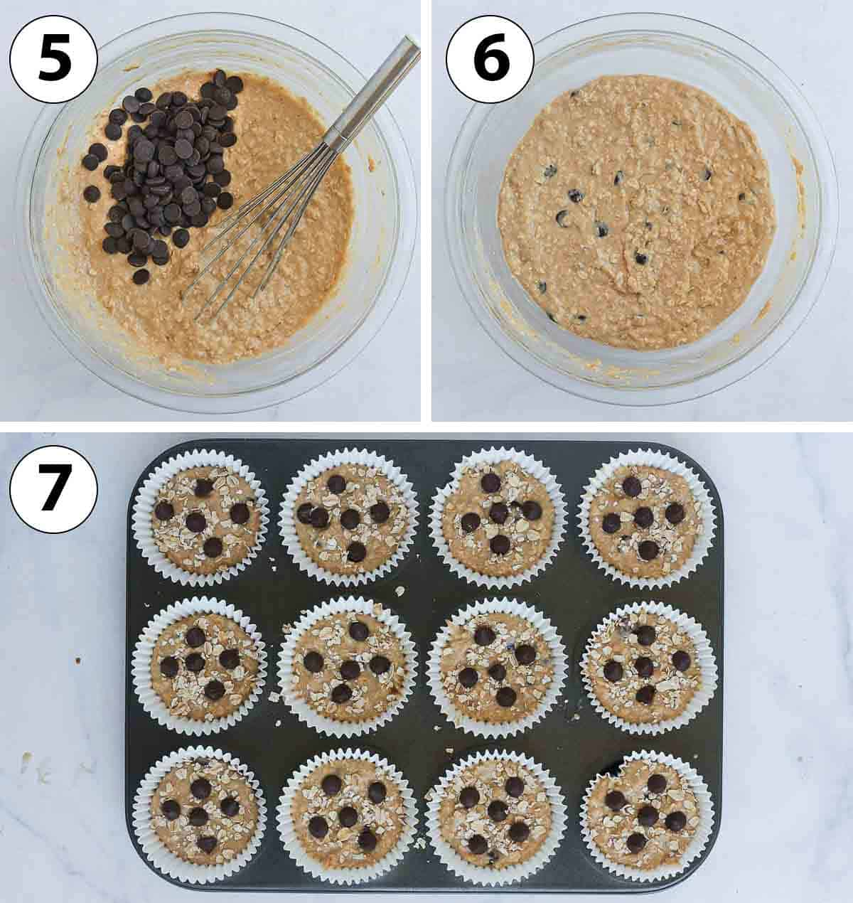 Process Shot Collage: adding the chocolate chips and scooping into a muffin pan.