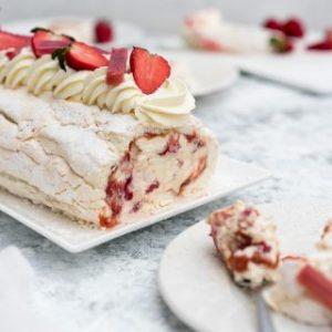 Strawberry Rhubarb Meringue Roulade.