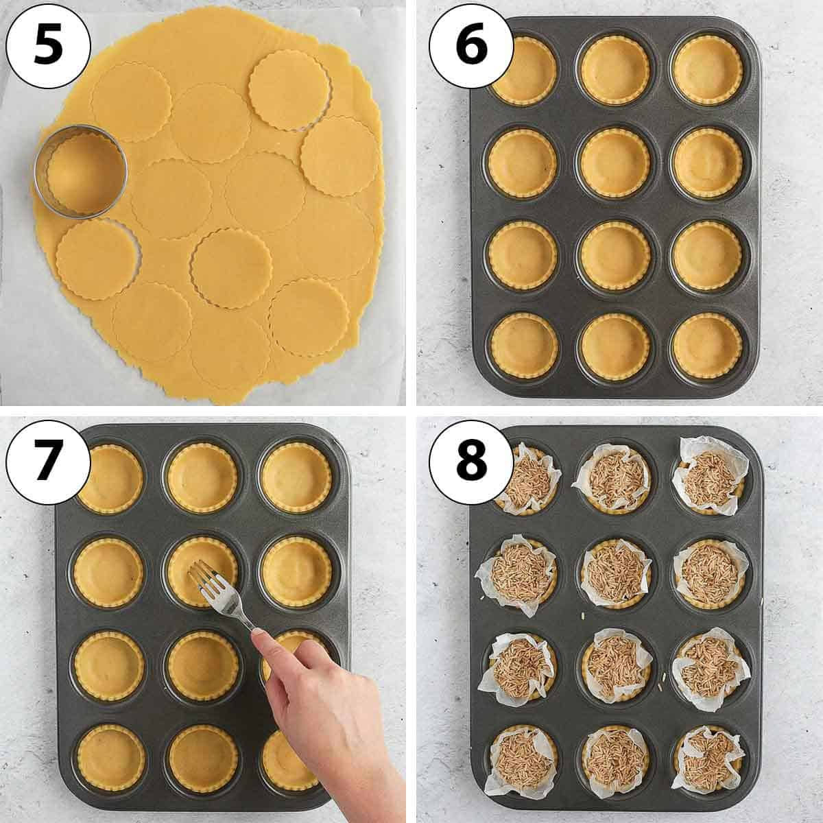 Process Shot collage: lining the muffin pan with the pastry.