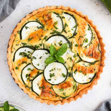 Zucchini Quiche seen from above.
