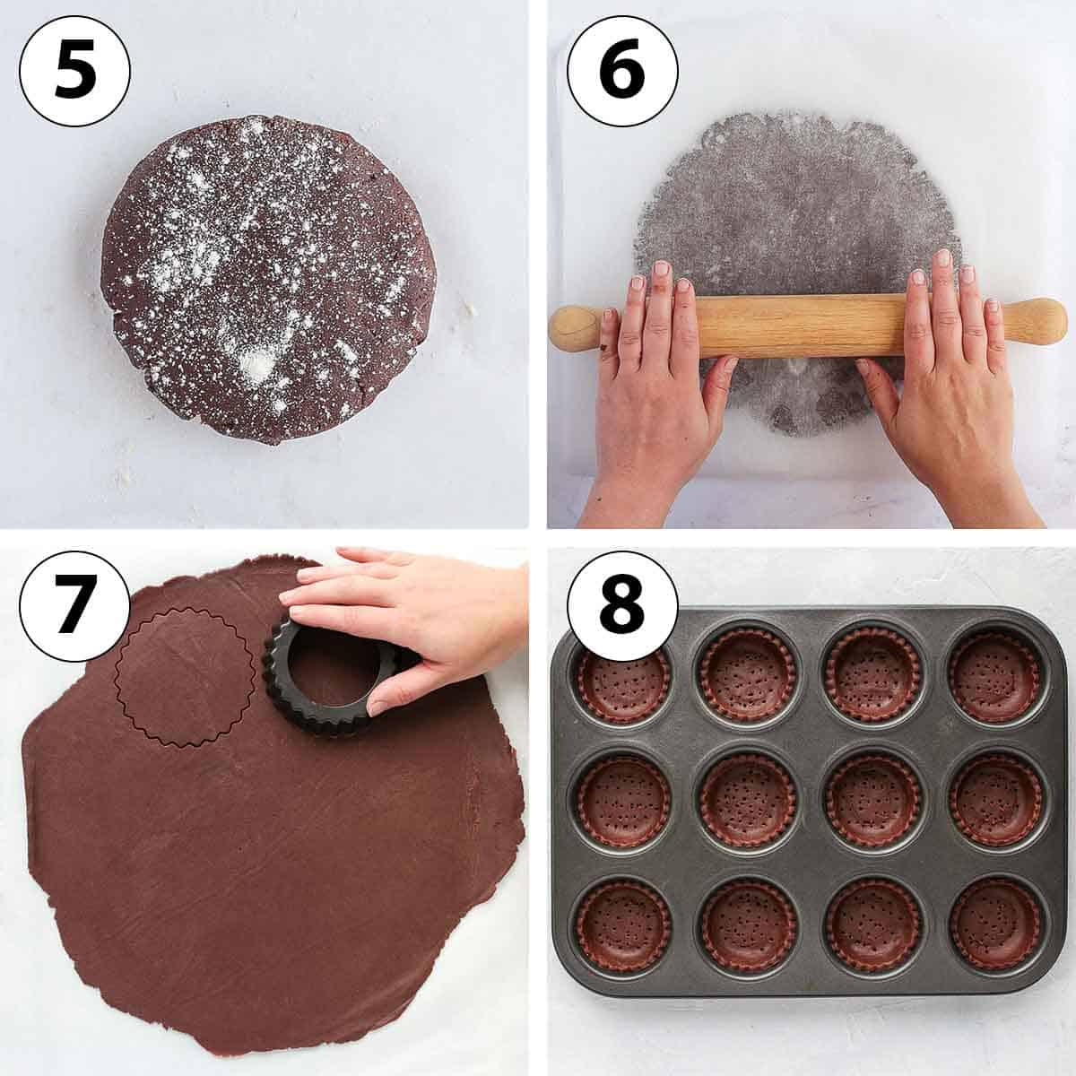 Process Shot Collage: rolling the pastry and lining the muffin pan with them.