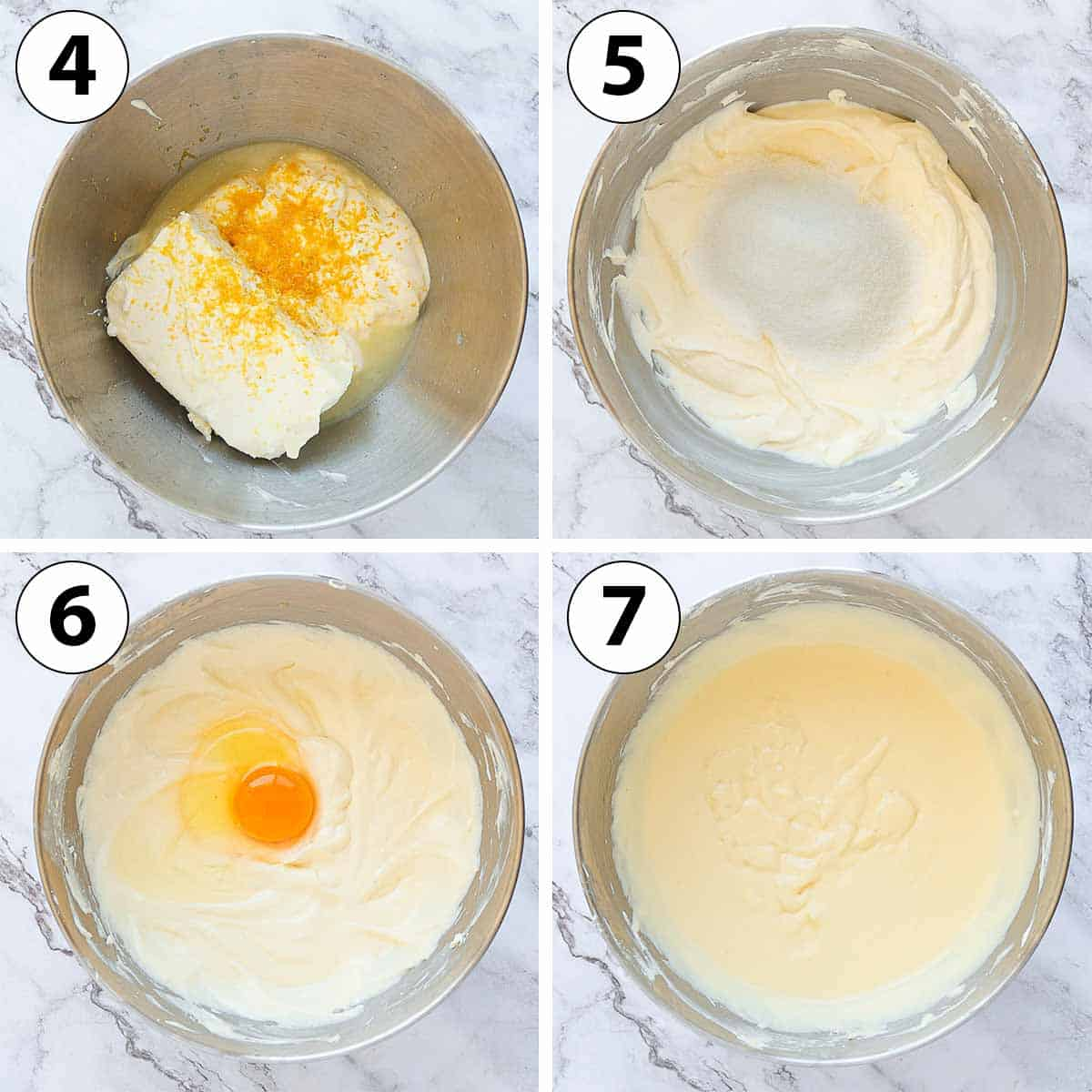 Process Shot Collage: making the lemon cheesecake batter.