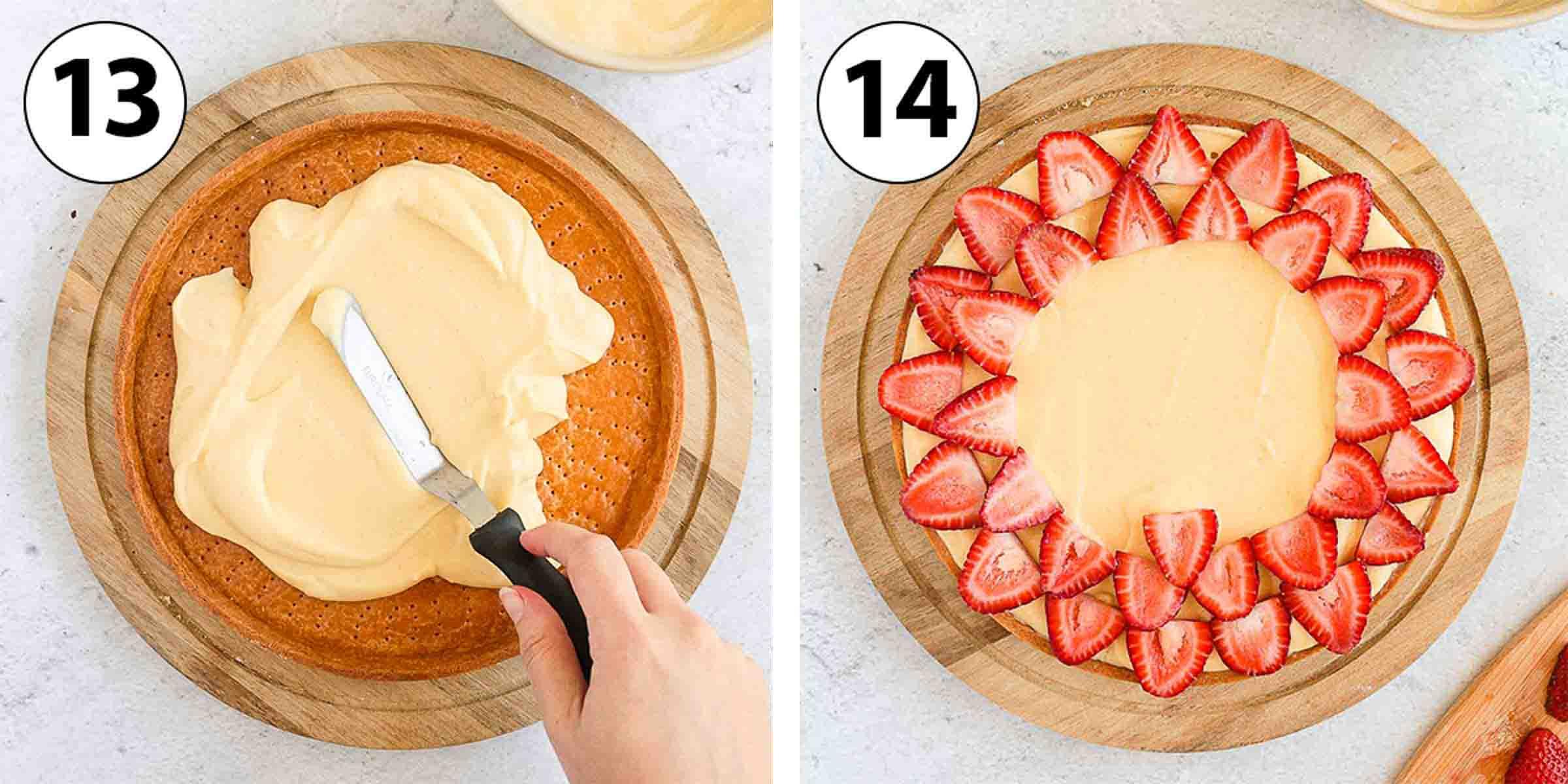 Process Shot Collage: assembling the tart.