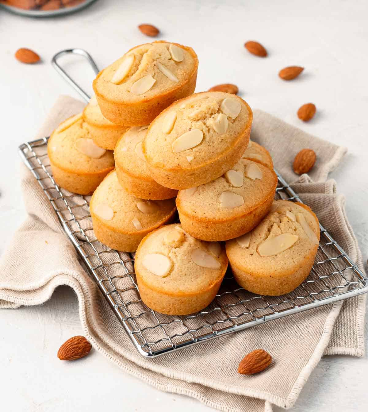 Stack of Financiers on a cooling rack.