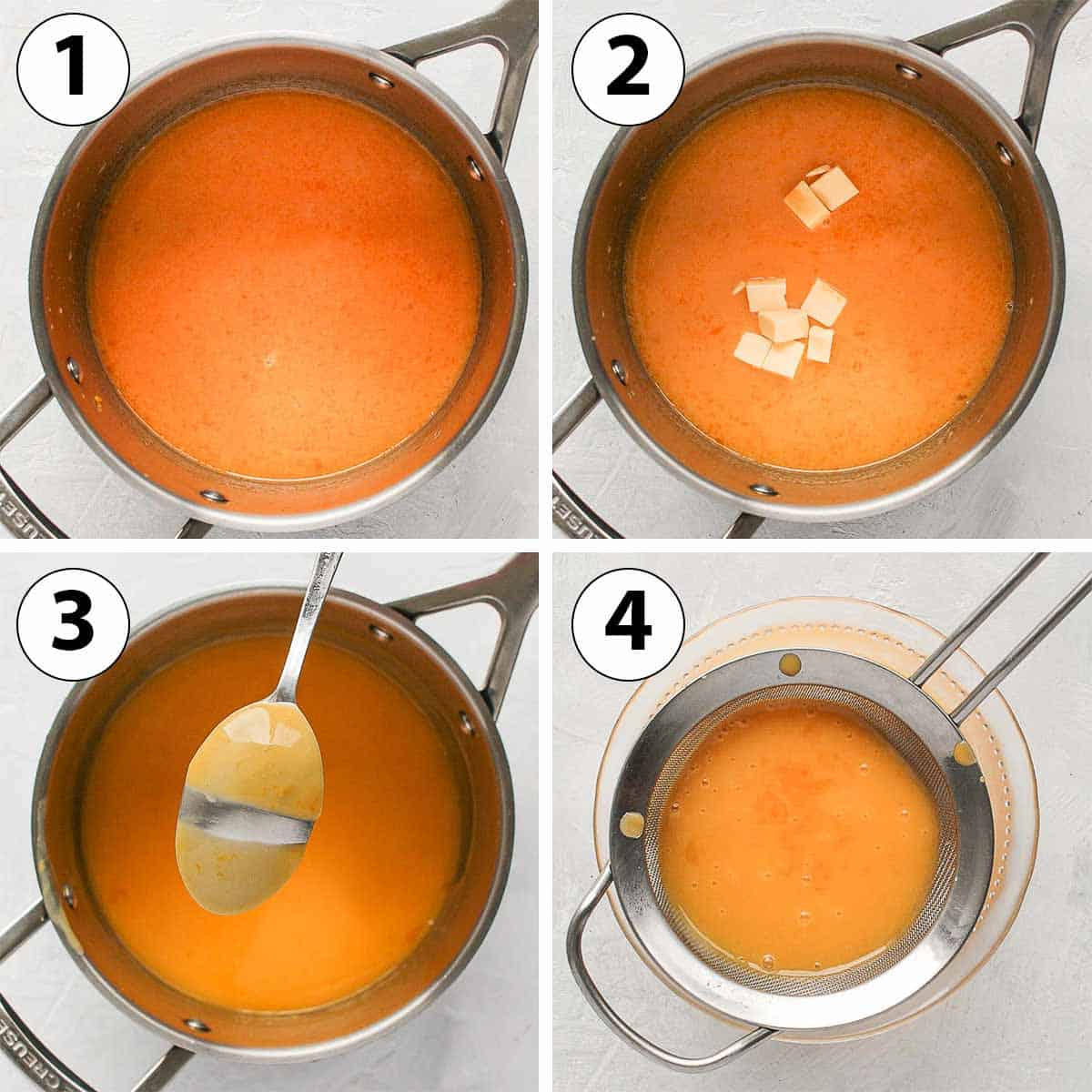Process Shot Collage: making the orange curd in a saucepan.