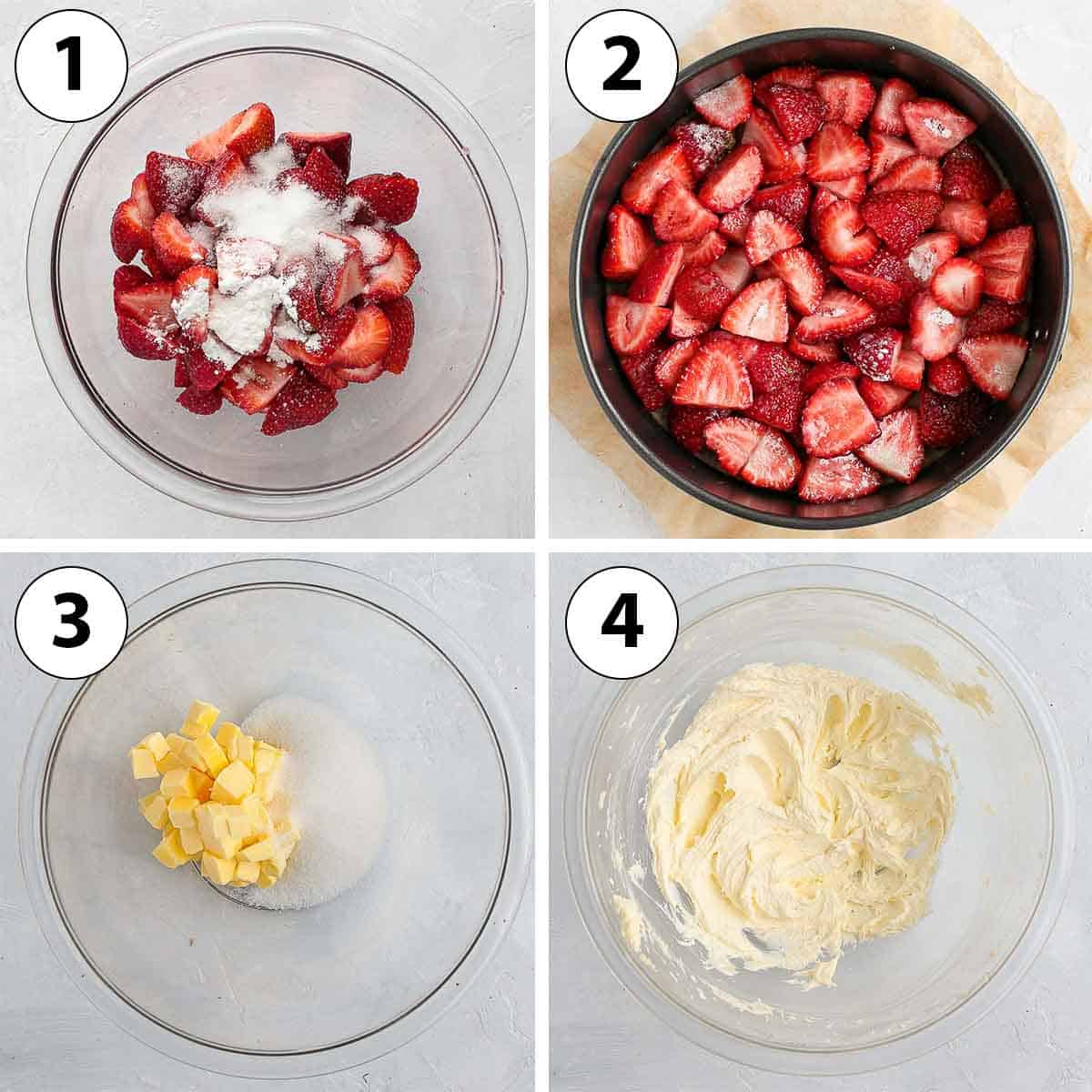 Process Shot Collage: preparing the strawberries and creaming the butter.