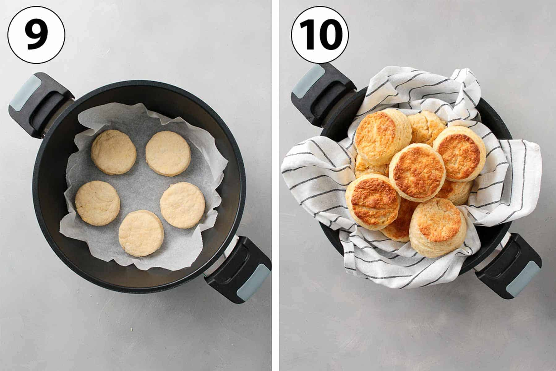 Process Shot Collage: baking the scones in the remoska.