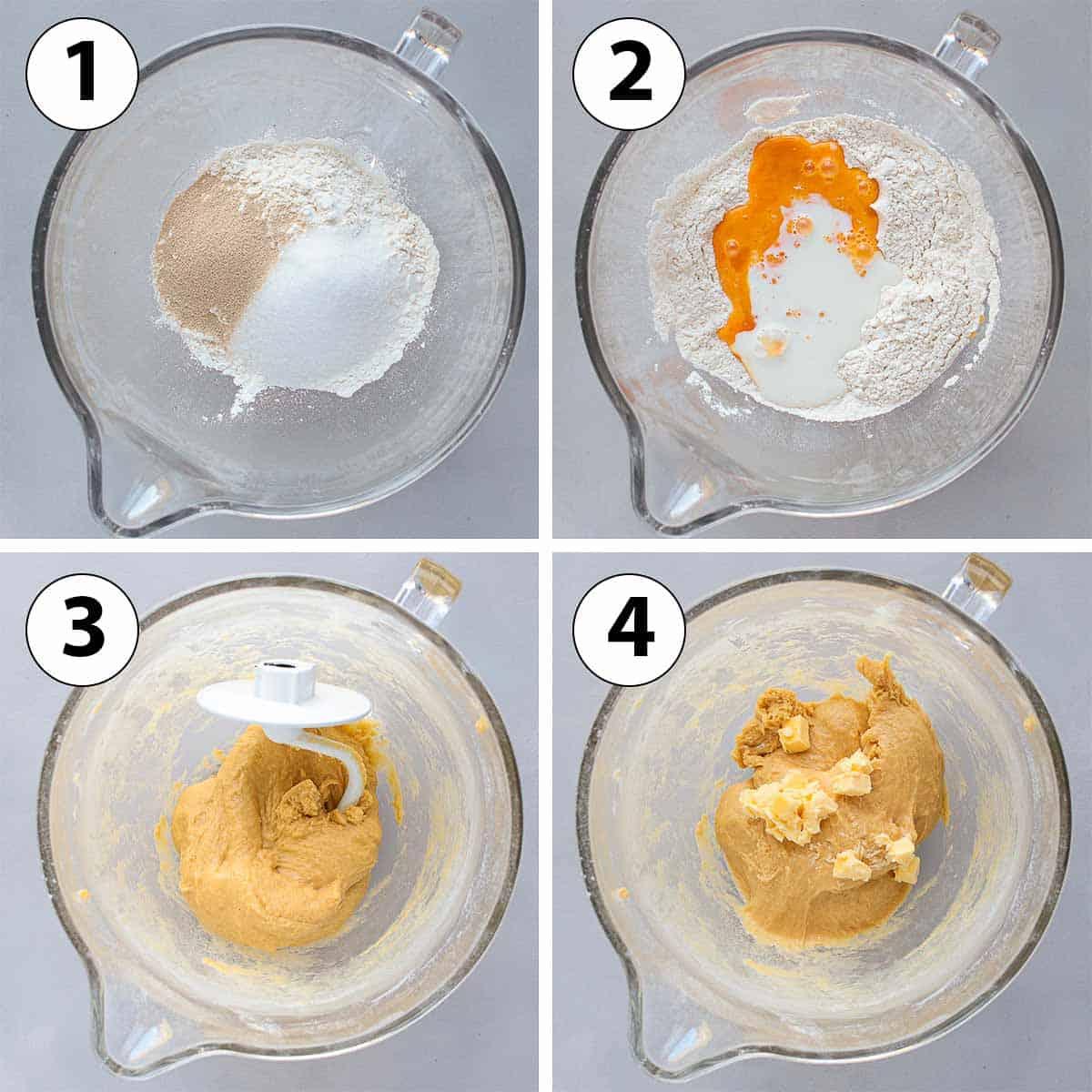 Process Shot Collage: making the brioche dough.
