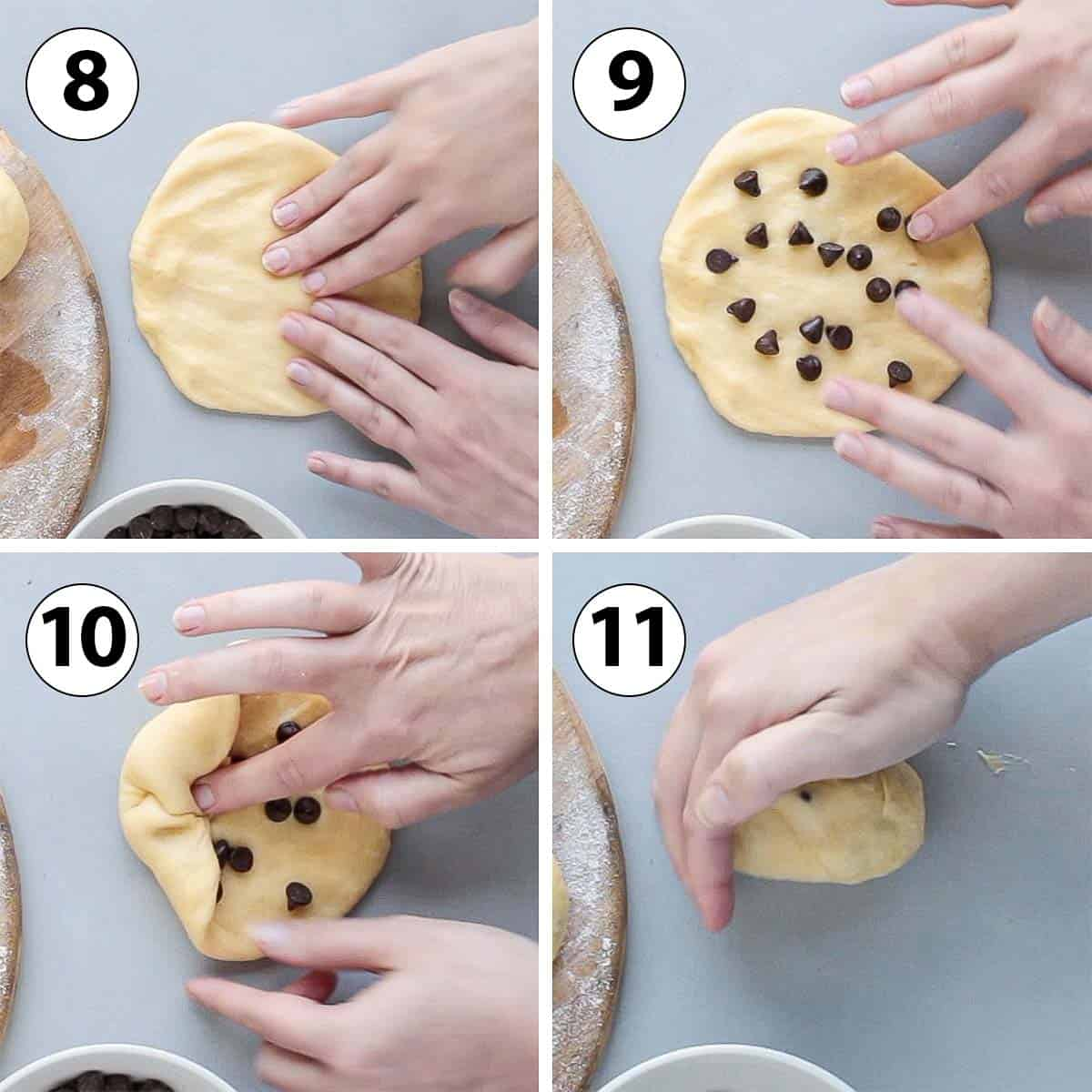Process Shot Collage: shaping the dough into individual rolls.