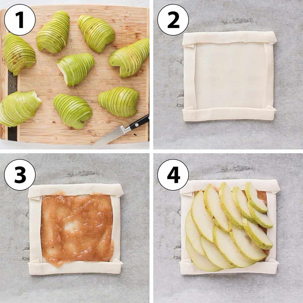 Process Shot Collage: cutting the pears and assembling the tarts.