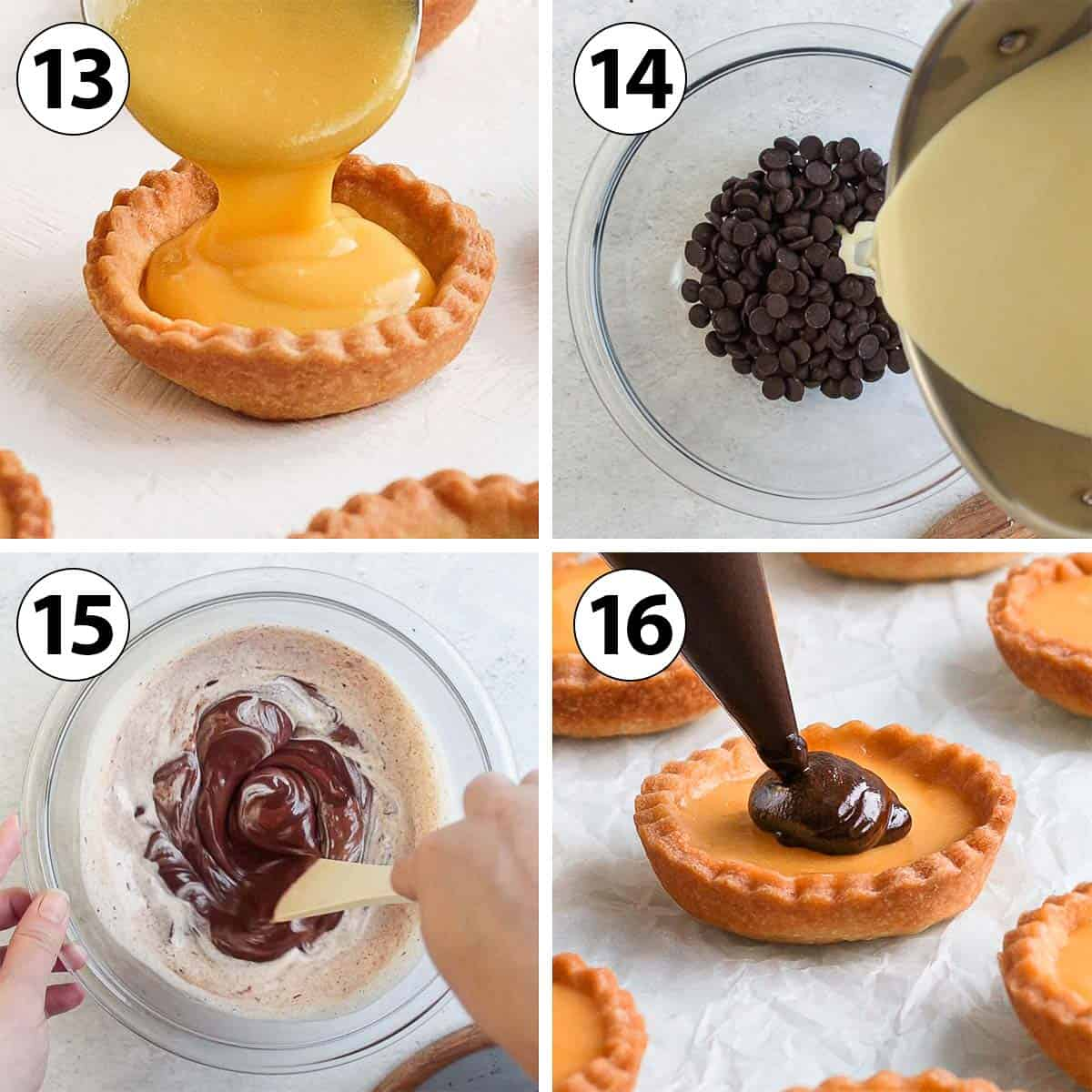 Process Shot Collage: assembling the tartlets and making the chocolate ganache topping.
