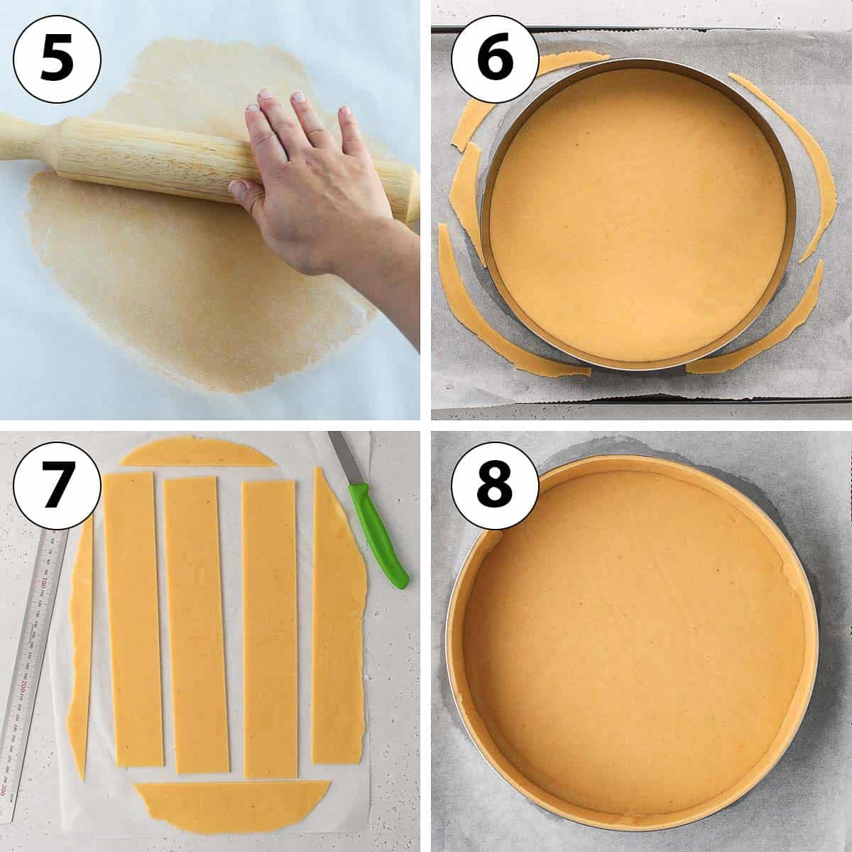 Process Shot Collage:lining the tart ring with the pastry.