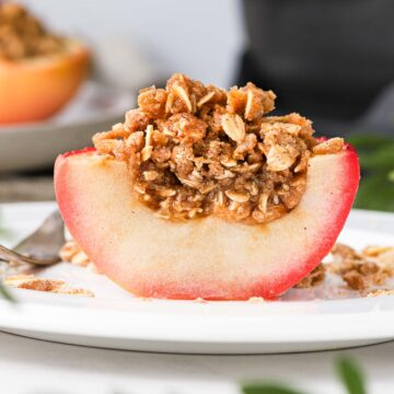 Apple and Crumble sliced in half.