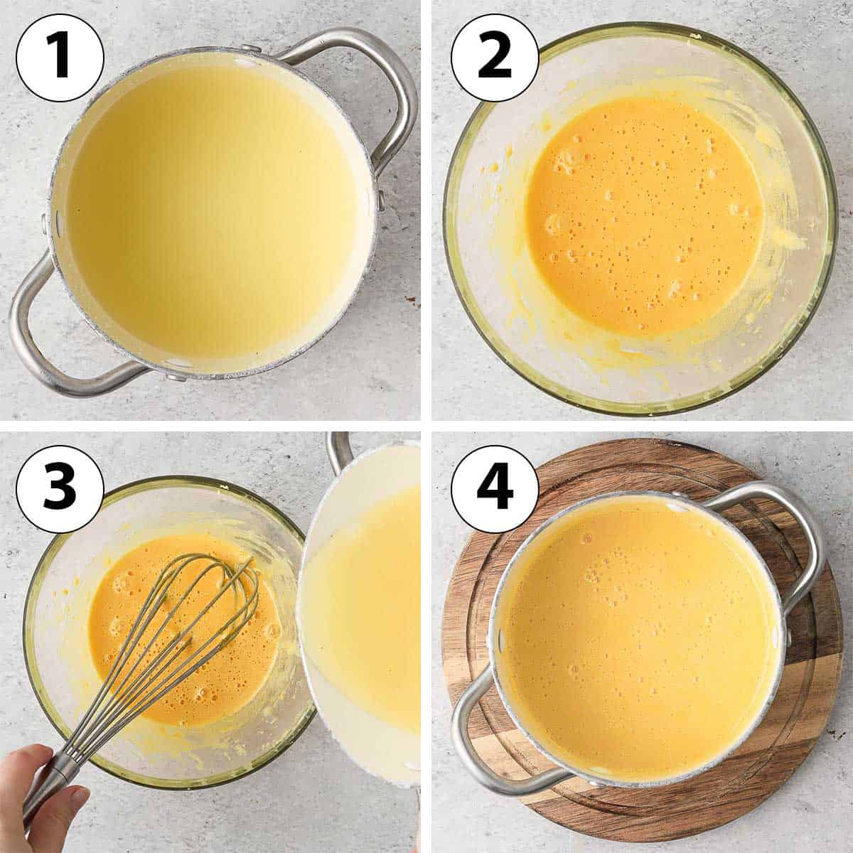 Process Shot Collage: mixing the eggs, sugar and lemon juice.